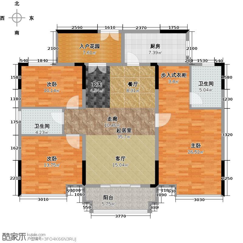 城央御景尚品127.40㎡9栋标准层01单元户型3室2卫1厨
