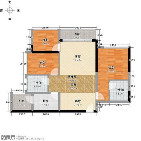 六和城3室1厅2卫1厨83.00㎡户型图