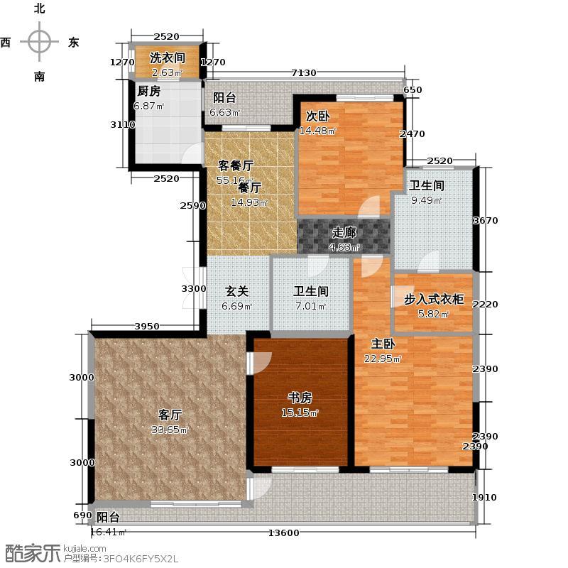 昆仑公馆180.00㎡1#楼标准层中间套户型10室