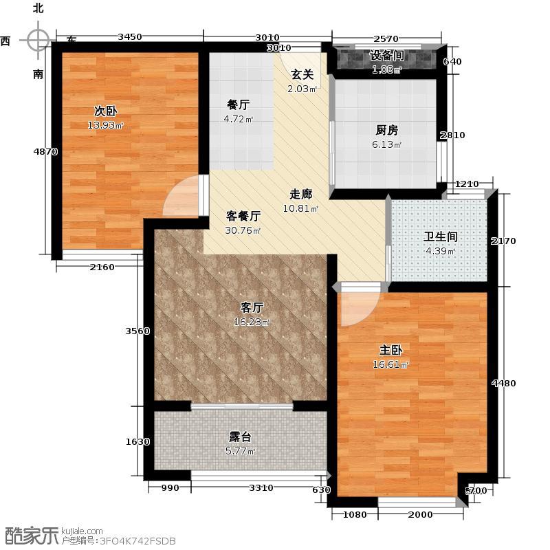 绿地世纪城89.52㎡户型2室1厅1卫1厨