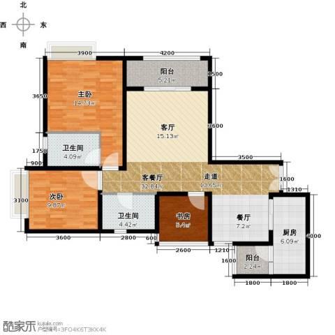约克郡汀兰3室1厅2卫1厨120.00㎡户型图