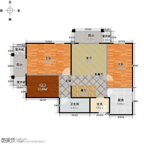 永翌公馆3室1厅1卫1厨129.00㎡户型图