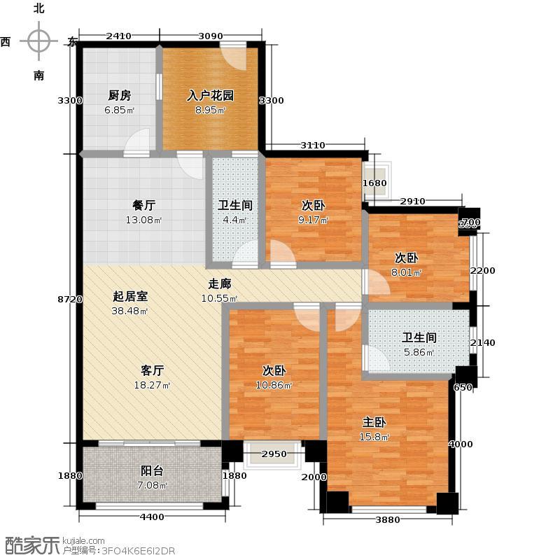 保利花城136.00㎡2-2、4-2、6-2号楼标准层01户型4室2卫1厨