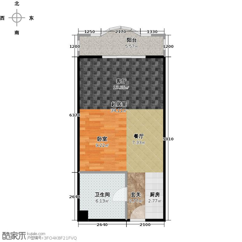 观澜国际公寓54.49㎡D户型1卫