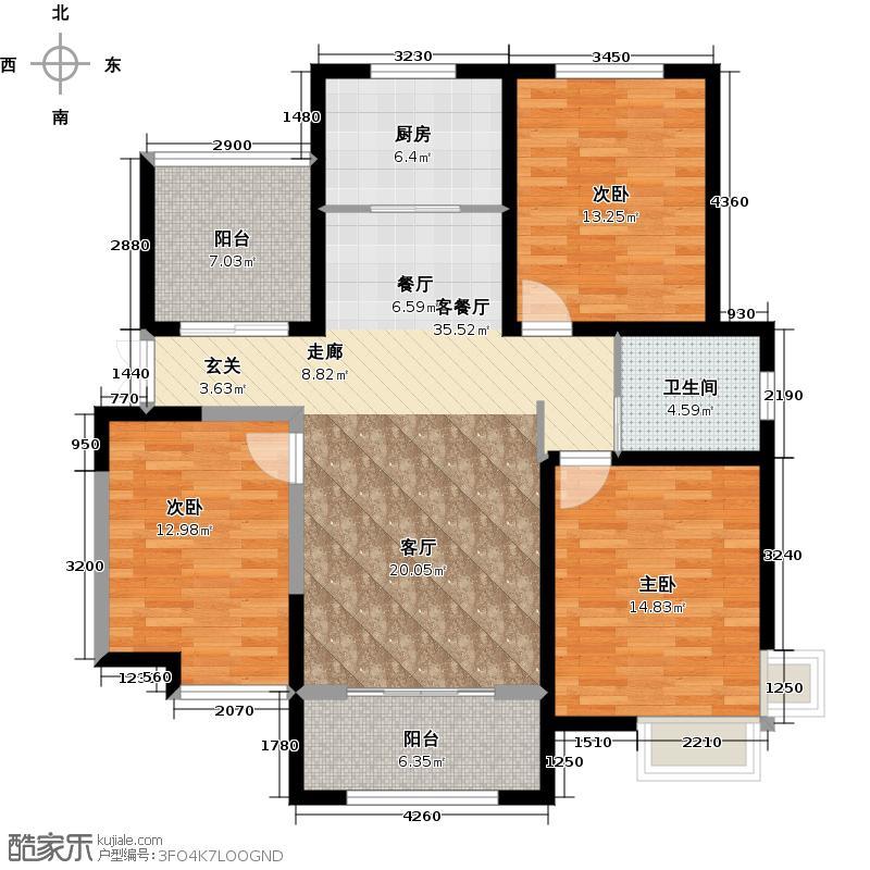 绿地世纪城114.65㎡户型3室1厅1卫1厨