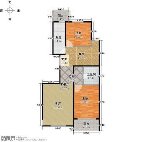 建邦枫景2室1厅1卫1厨102.00㎡户型图