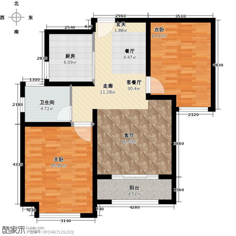 绿地世纪城87.21㎡户型2室1厅1卫1厨