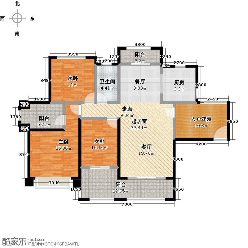 保利花城126.00㎡1-1、2-1、4-1、6-1号楼标准层03/1-2号楼标准层04户型3室1卫1厨
