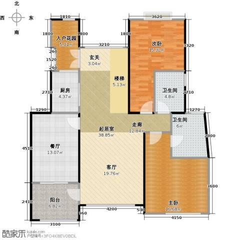 天景雨山前三期2室1厅2卫1厨163.00㎡户型图