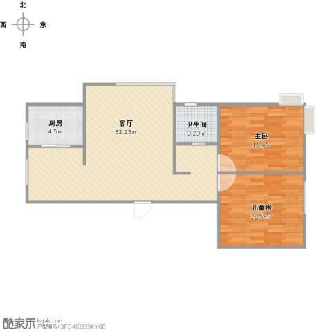 格林观堂2室1厅1卫1厨86.00㎡户型图