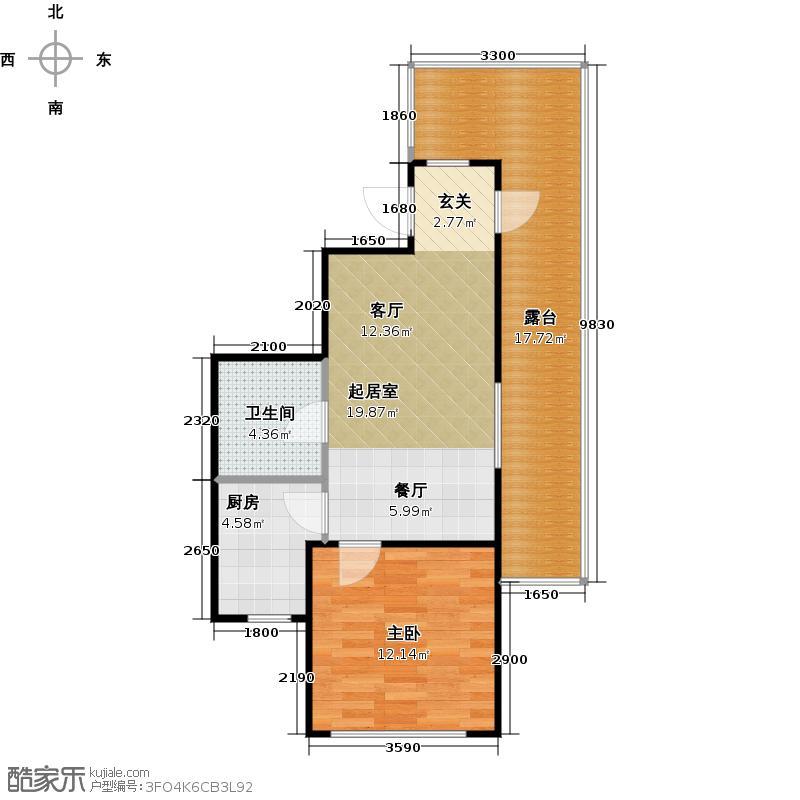 泰盈十里锦城69.98㎡C6户型1室1卫1厨