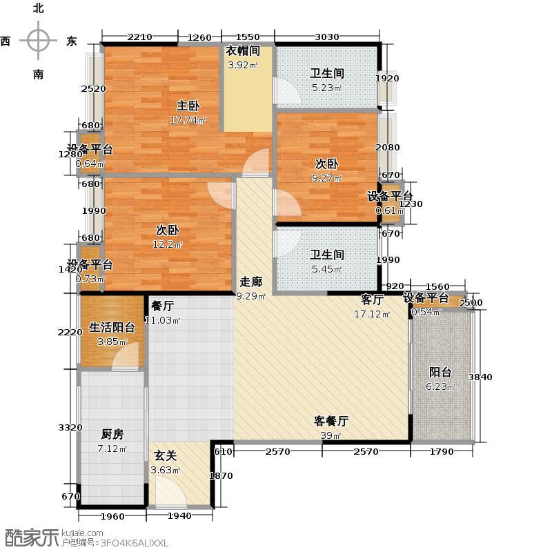 中海誉城129.31㎡橙郡A17栋6-21标准层04户型3室1厅2卫1厨