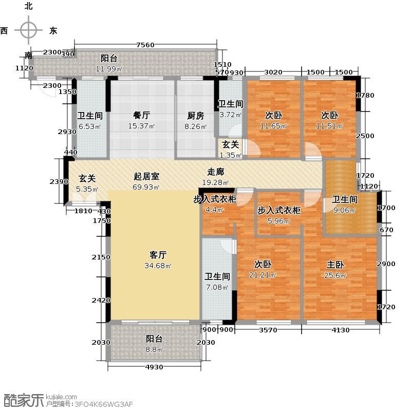 尚轩103259.00㎡3栋三至十四层02户型4室4卫1厨