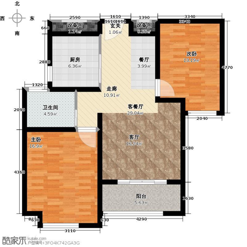 绿地世纪城88.92㎡户型2室1厅1卫1厨