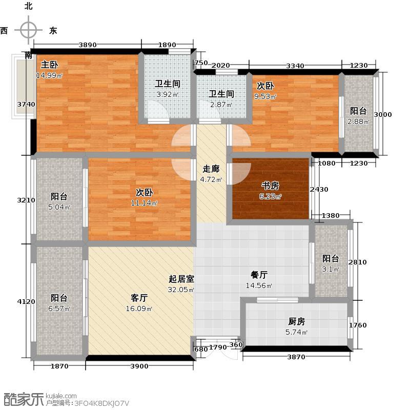 重庆鲁能领秀城122.00㎡领秀城F3户型4室2卫1厨