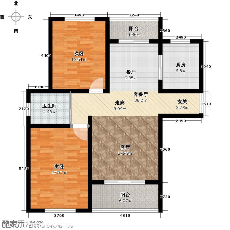 绿地世纪城99.80㎡户型2室1厅1卫1厨