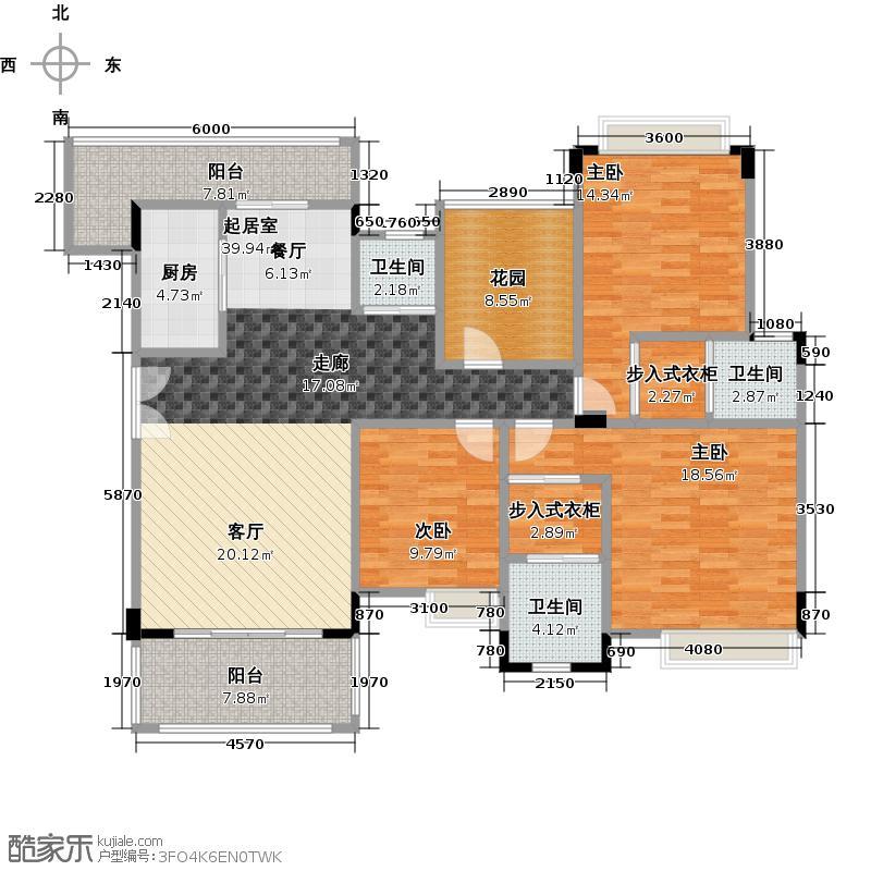 汇景御泉香山141.71㎡户型3室3卫1厨
