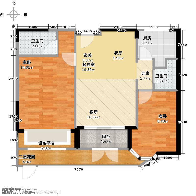 东湖洲花园71.07㎡1区12座-203户型2室2卫1厨