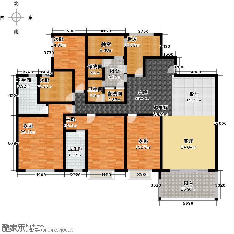 凯旋新世界280.15㎡T17栋四至二十三层02户型5室1厅3卫1厨