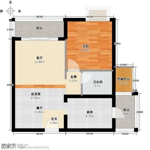 瑞安创逸1室0厅1卫0厨64.00㎡户型图
