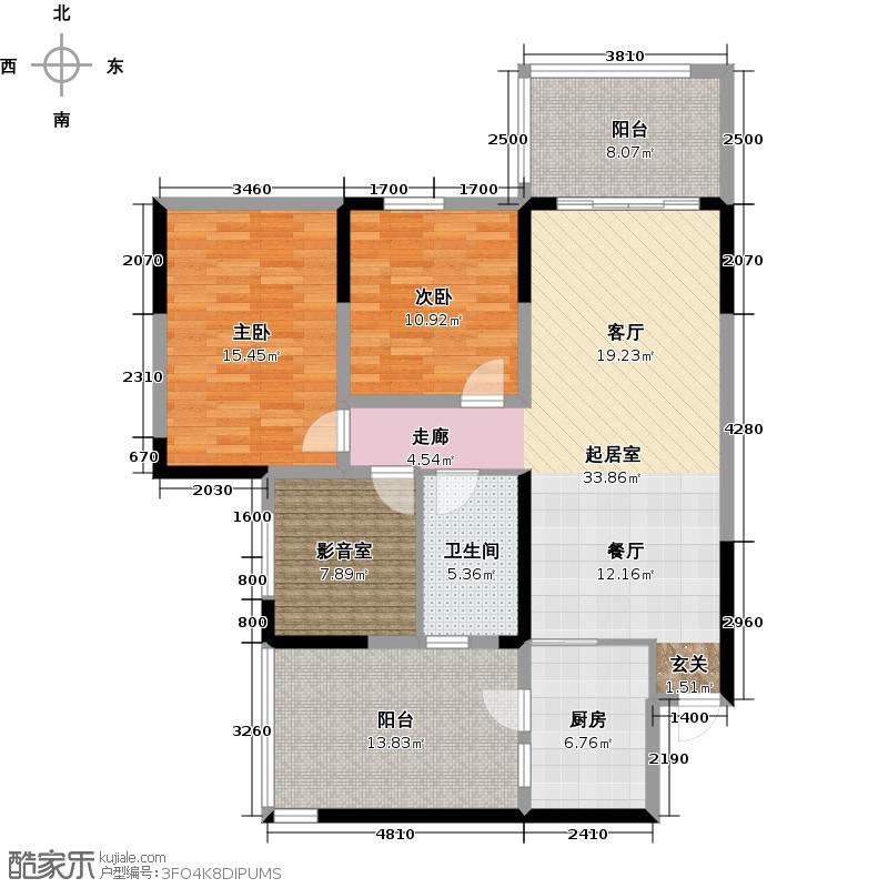 金科西城大院115.91㎡户型2室1卫1厨
