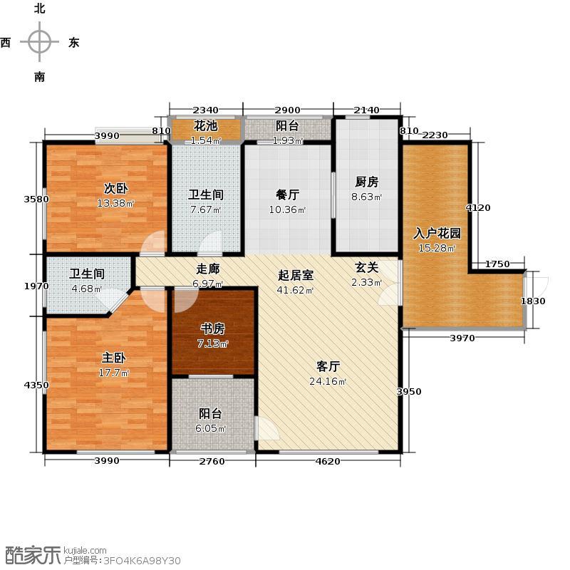大学城馨园135.77㎡D1栋12层-02单位三阳台户型3室2卫1厨