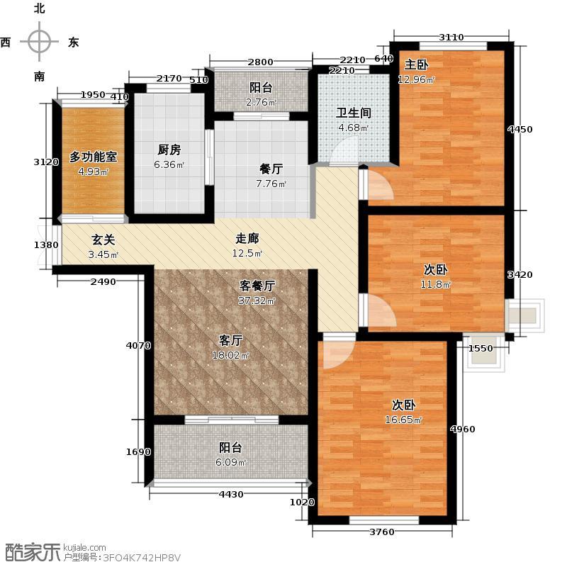绿地世纪城119.20㎡户型3室1厅1卫1厨