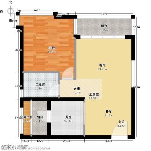 瑞安创逸1室0厅1卫1厨64.00㎡户型图