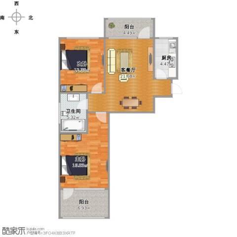 朗诗国际街区(跃层)2室2厅1卫1厨96.00㎡户型图