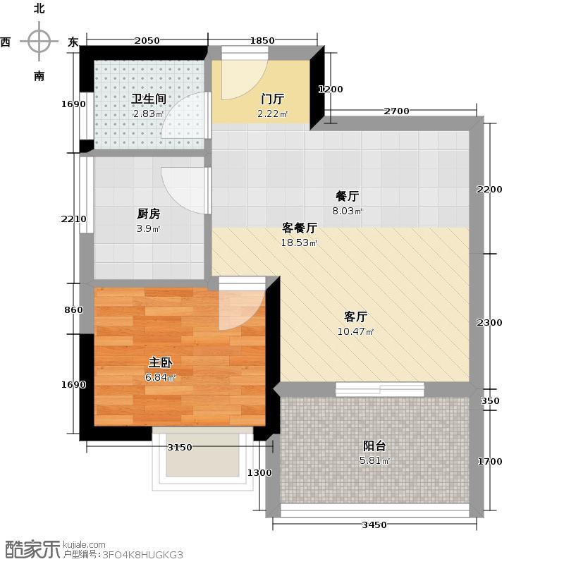 海棠晓月蓝滨城C区31.86㎡房型户型1室1厅1卫1厨
