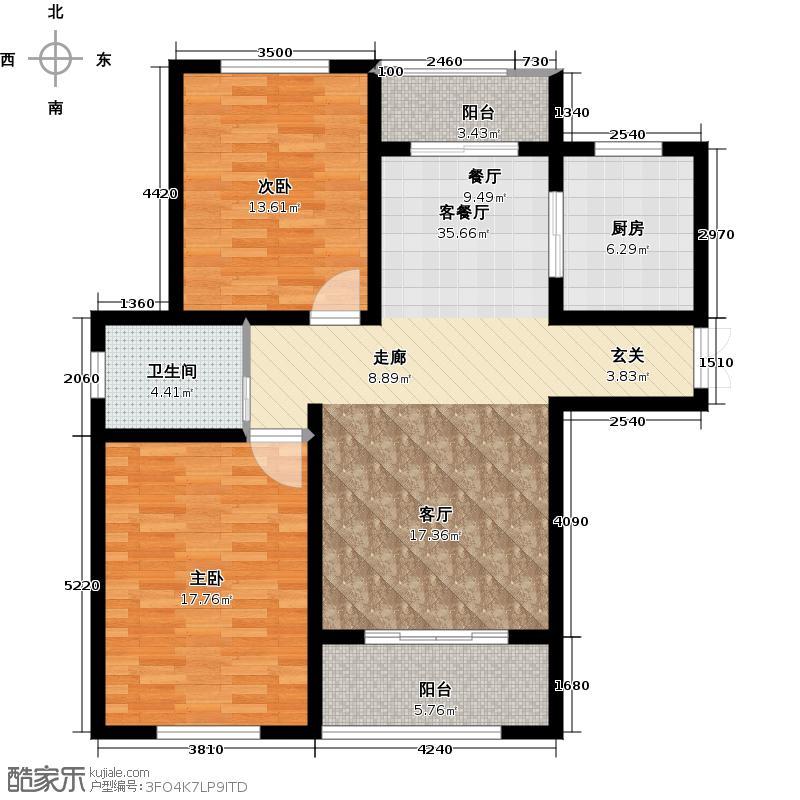 绿地世纪城99.56㎡12号楼丽景风尚户型2室1厅1卫1厨