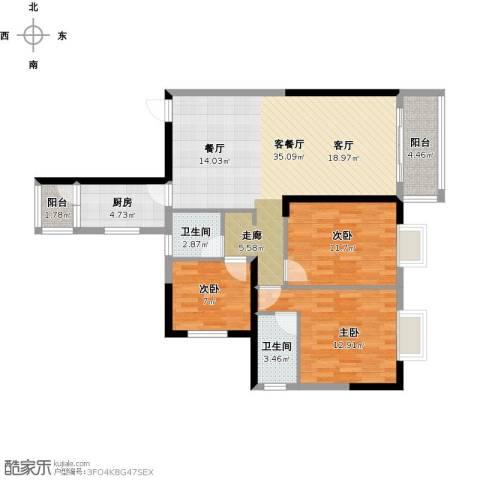 朱家角镇B3、B4地块3室1厅2卫1厨120.00㎡户型图