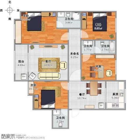汇君城4室2厅4卫1厨134.00㎡户型图