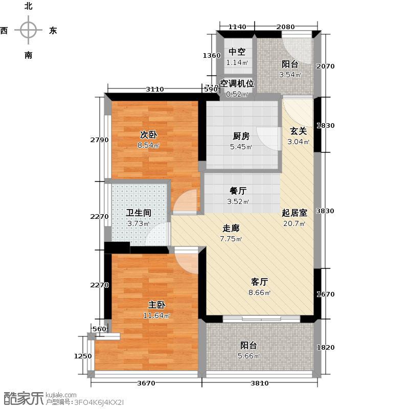 潜龙曼海宁70.78㎡(南区)5栋5-2C2阳台6748-户型2室1卫1厨