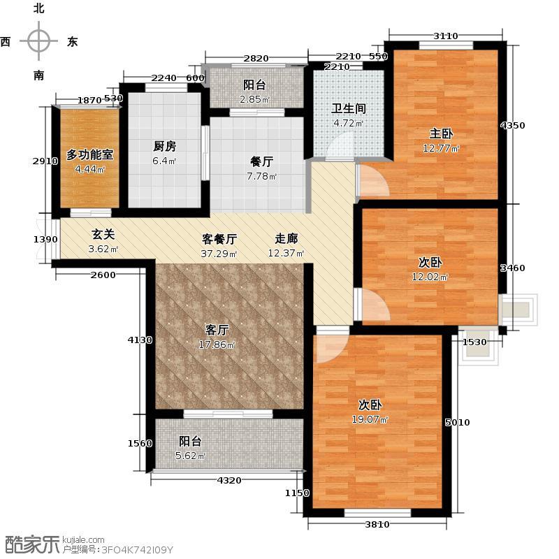 绿地世纪城118.21㎡户型3室1厅1卫1厨