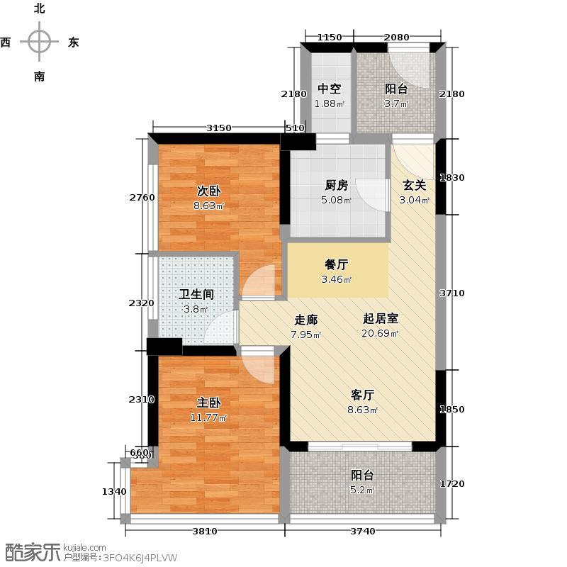 潜龙曼海宁70.78㎡(南区)5栋5-1D2阳台6748-户型2室1卫1厨