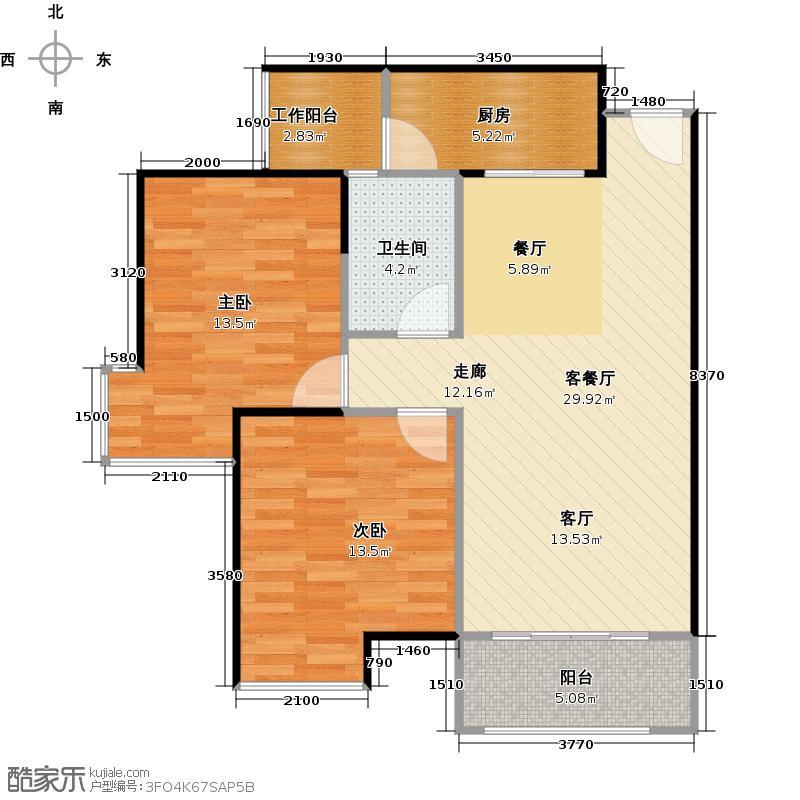 汇东国际花园A区4栋3-26F10单位户型2室1厅1卫1厨