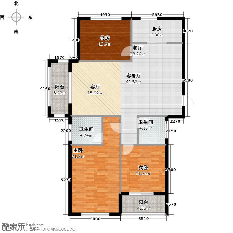 栖水珑庭123.60㎡A1户型3室2厅2卫