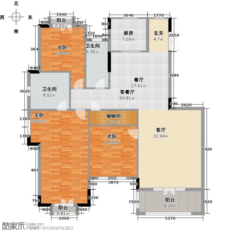 华盛达阅城253.00㎡1、3、5号楼二三层边套A3下层户型5室2厅3卫
