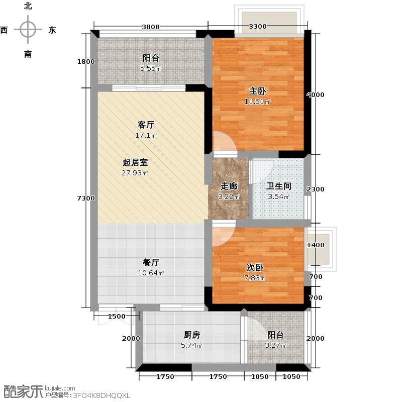 阿卡迪亚江山凌云A1-5户型2室1卫1厨