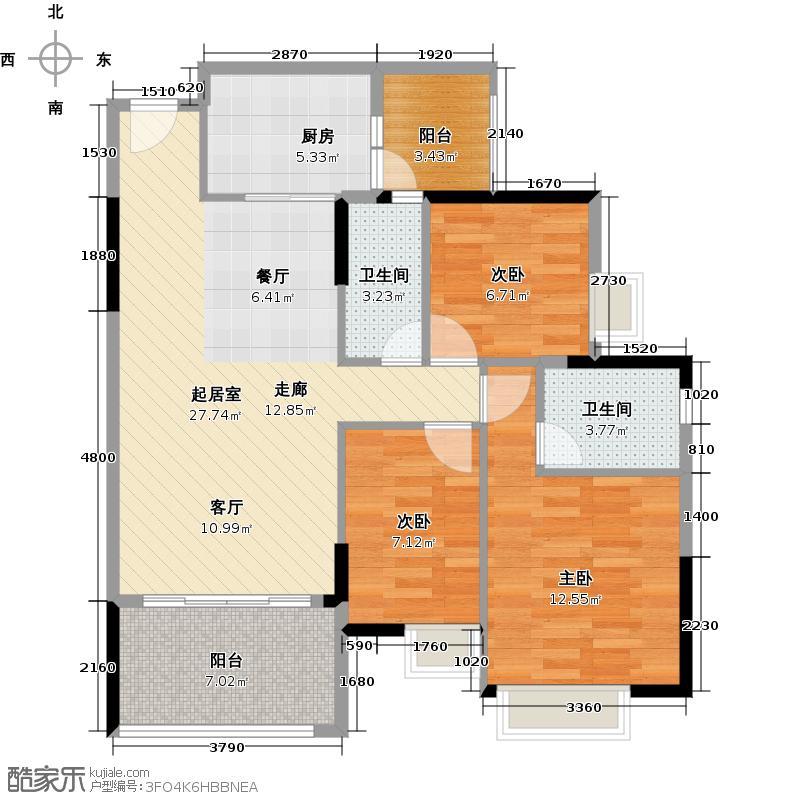 锦绣星城86.12㎡图为F5栋06单位户型3室2卫1厨
