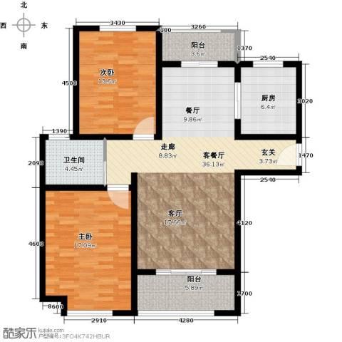 绿地世纪城2室1厅1卫1厨124.00㎡户型图