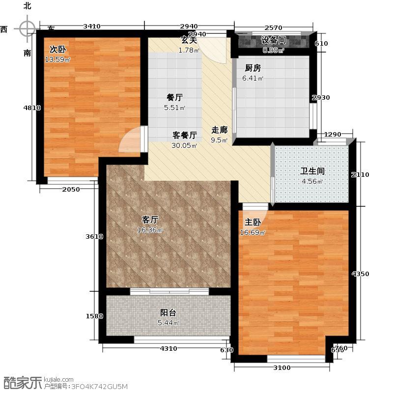 绿地世纪城户型2室1厅1卫1厨