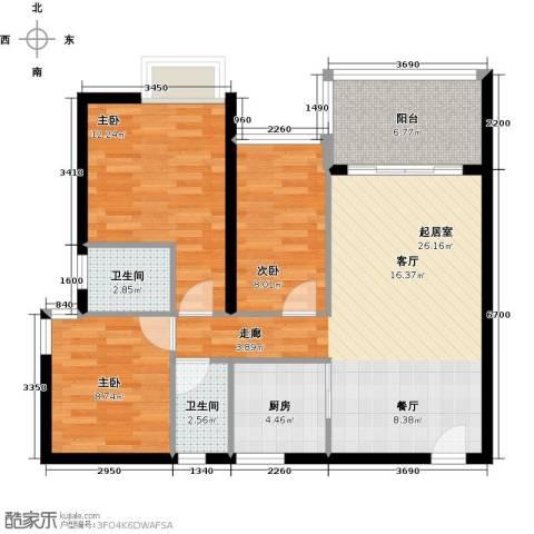 东苑花园3室0厅2卫1厨102.00㎡户型图