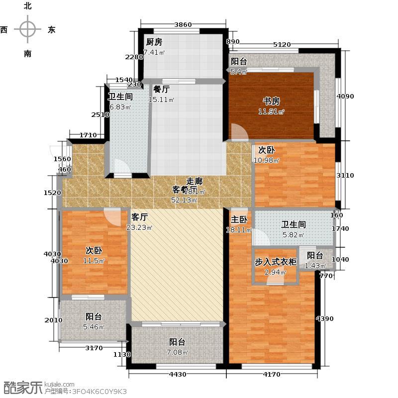 绿城玉园190.00㎡D2户型4室2厅2卫