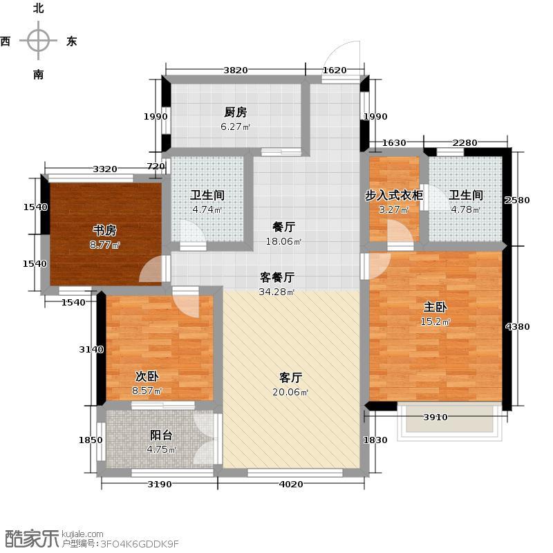 顺发堤香105.00㎡1和2号楼D装修意向图户型3室2厅2卫