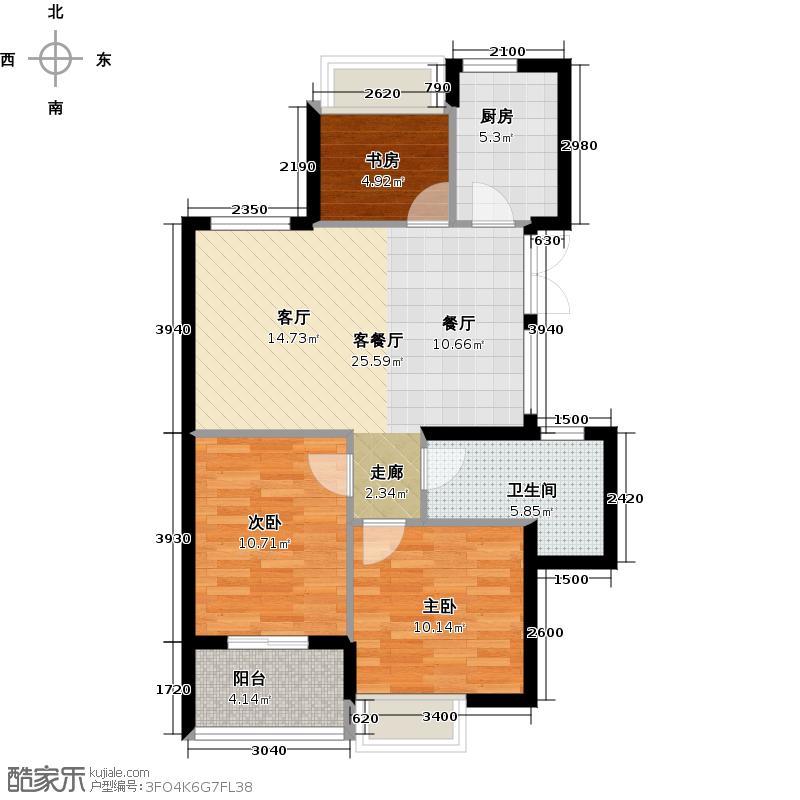 滨江金色黎明89.00㎡大二期3号楼1单元04室、2单元01室奇数层C1户型3室2厅1卫