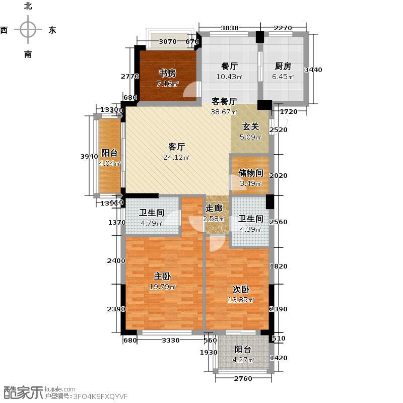 """中国铁建国际花园115.00㎡""""花语明轩""""B1户型3室2厅2卫"""