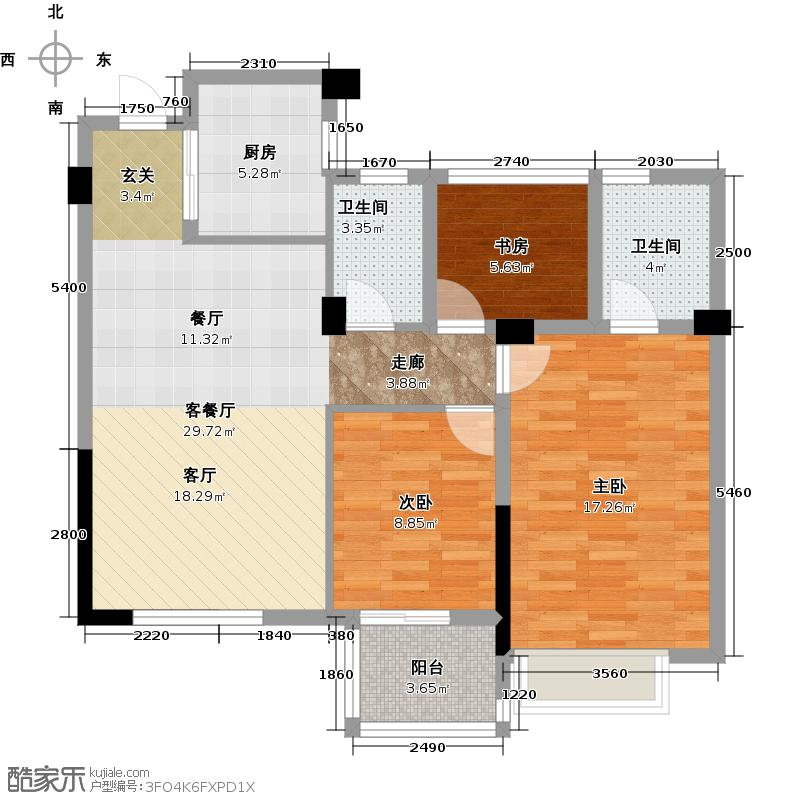 中国铁建国际花园89.00㎡中间套A2户型3室2厅2卫