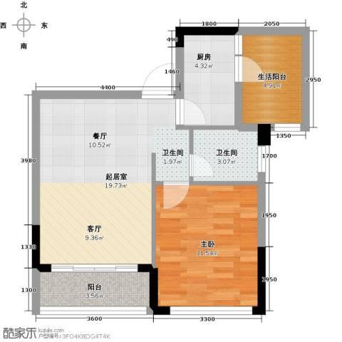 朝兴龙城国际1室0厅1卫1厨50.00㎡户型图